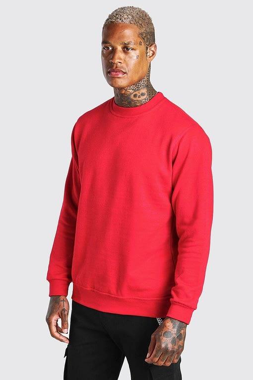 Textured Red Full-Sleeves Sweatshirt
