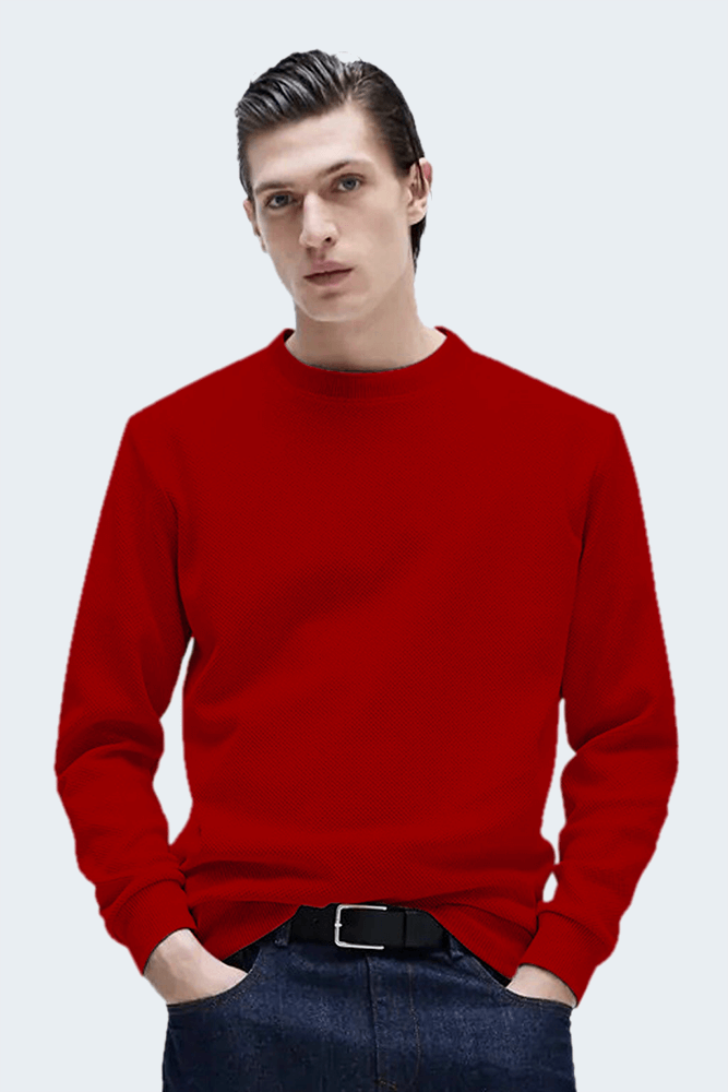 This image displays a model wearing textured red full-sleeves Sweatshirt/t-Shirt