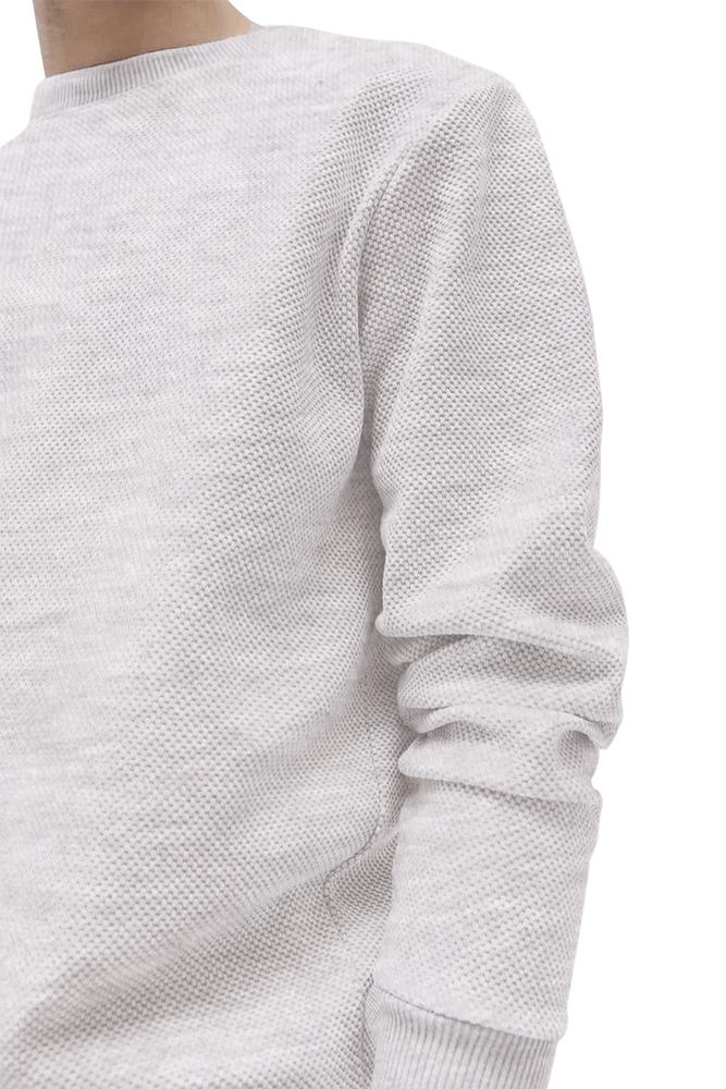 This image displays a model wearing textured grey full-sleeves Sweatshirt/T-shirt