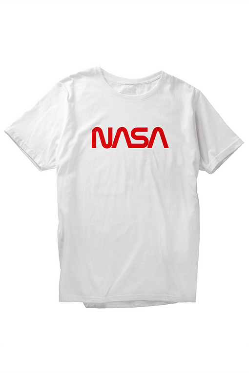 Image displays Round Neck Half-Sleeves White T-Shirt Nasa