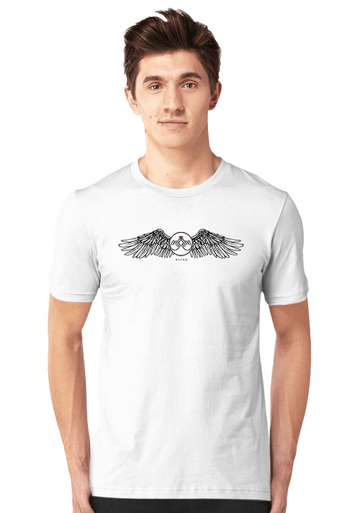 This image Round Neck Half-sleeves White T-Shirt Angel